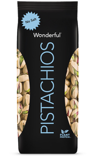 Black package of unsalted Wonderful Pistachios