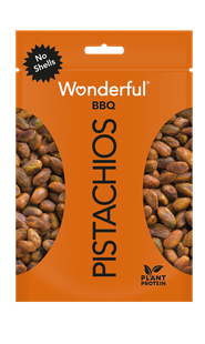 Orange package of bbq flavored Wonderful Pistachios