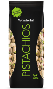 Black package of roasted and salted flavored Wonderful Pistachios